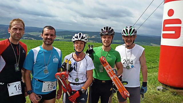 Das erfolgreiche Team unseres Team beim Spiegelwaldlauf. v.l.n.r.: Olaf Meyer, Sebastian Groß, Silke Escher, Toni Escher, Joachim Kretzschmar